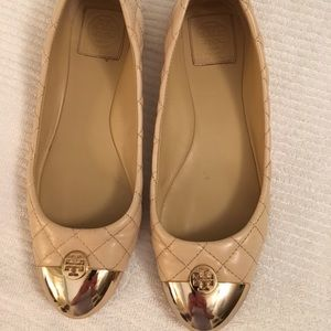 Tory Burch Kaitlin Quilted Gold Tip Shoe Size 8